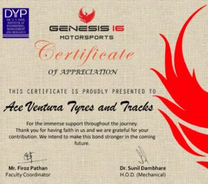 Ace Ventura Won an award for supply of quality ATV tyres to DY Patil Institute